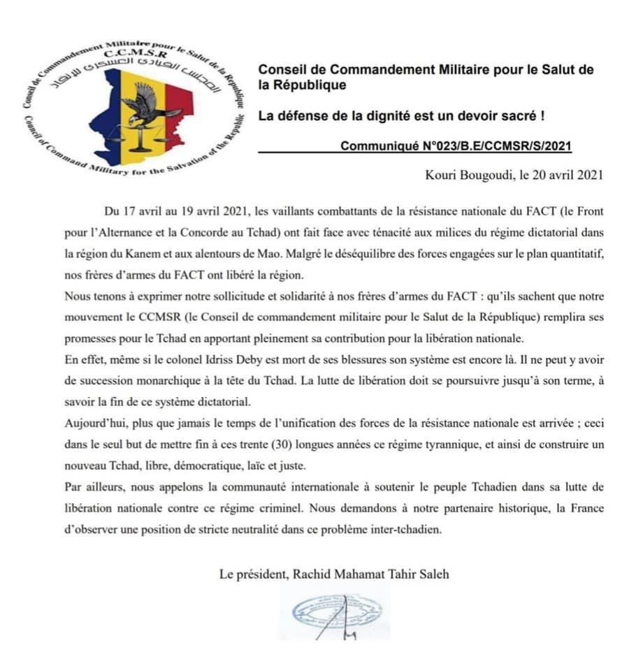 #Tchad - Le CCMSR promet soutien au FACT et met en garde la France