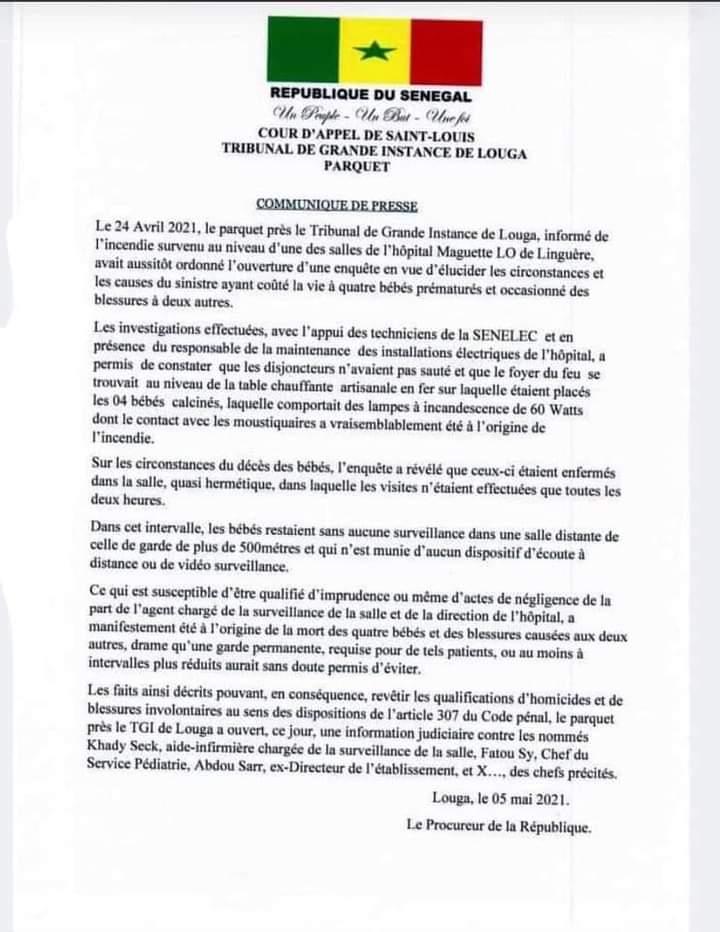 Incendie hôpital Maguette Lo de Linguère: le procureur ouvre une information judiciaire contre l'ex-Directeur et deux autres agents
