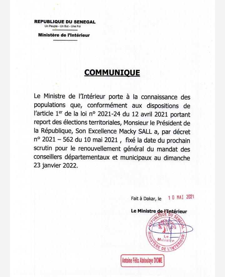 Sénégal : les élections locales fixées au 23 janvier 2022 (décret)