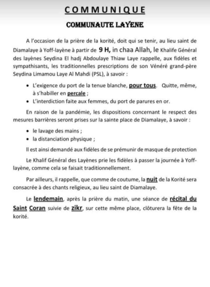 Prière de la Korité à Yoff : les prescriptions chez la communauté Layène (Document)