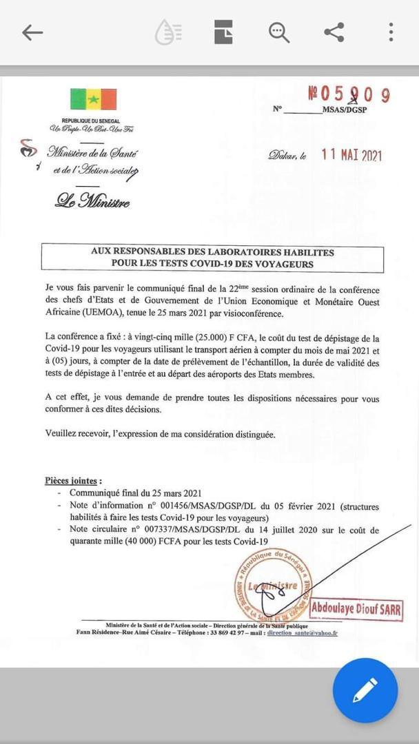 Zone Uemoa:  le coût du test dépistage covid-19 pour les voyageurs fixé à 25.000 FCFA