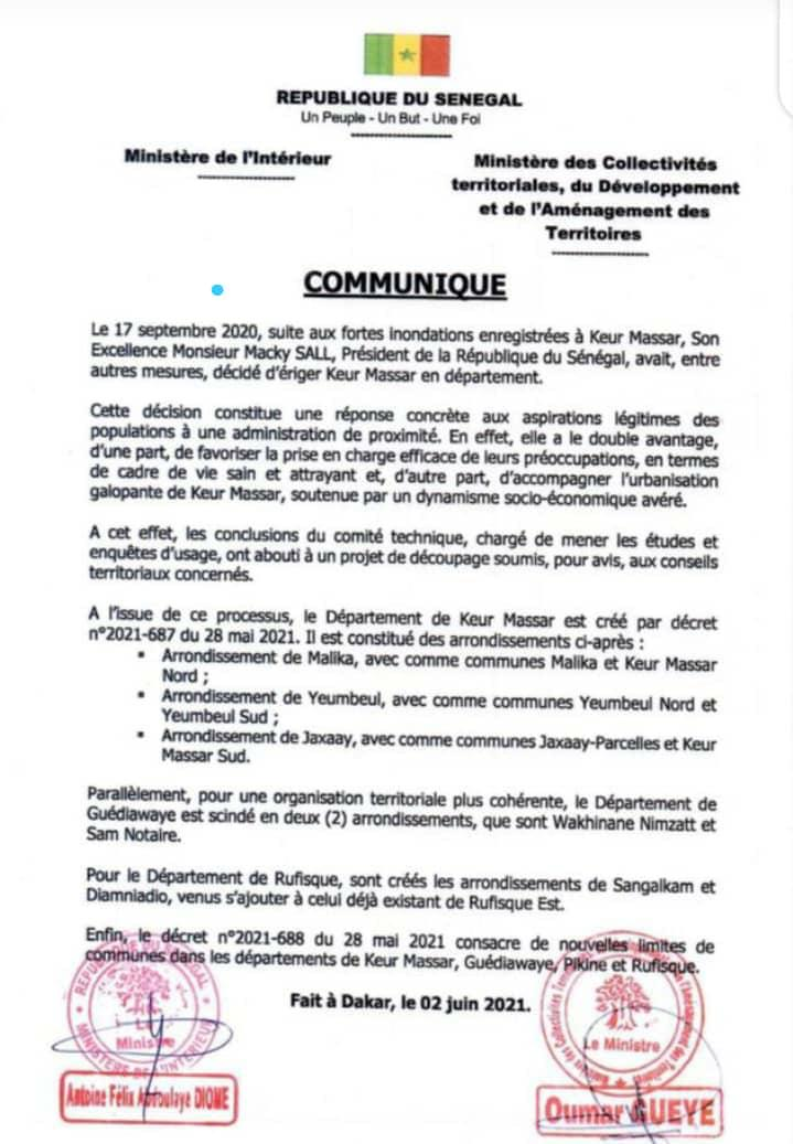 Officiel : Keur Massar érigé en département (Décret)