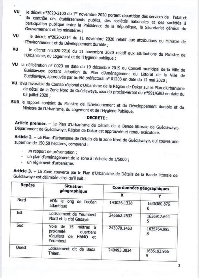 Le Plan d'urbanisme de détails de la bande littorale de Guediawaye approuvé et rendu exécutoire (décret)