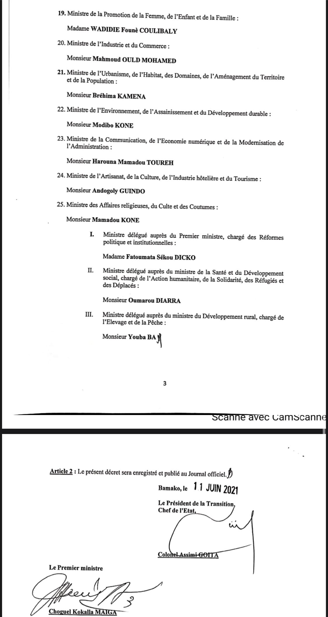 La liste du nouveau Gouvernement du Mali avec 25 ministres