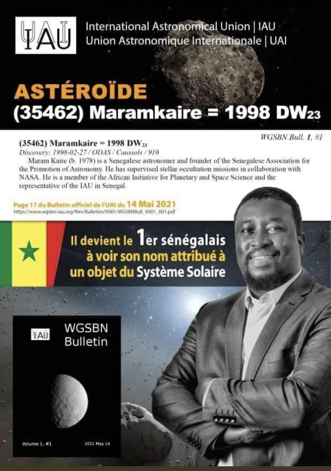 Le Sénégal honoré : Maram Kaire devient le premier sénégalais dont un astéroïde porte le nom