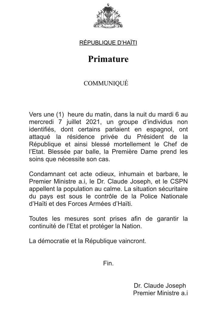 Haïti : le Président Jovenel Moïse assassiné dans la nuit dans sa résidence privée (cabinet du Premier ministre)