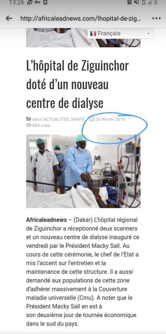 Macky Sall en train de serrer la main d'une malade de covid-19 : Faux !!! La photo date de 2015