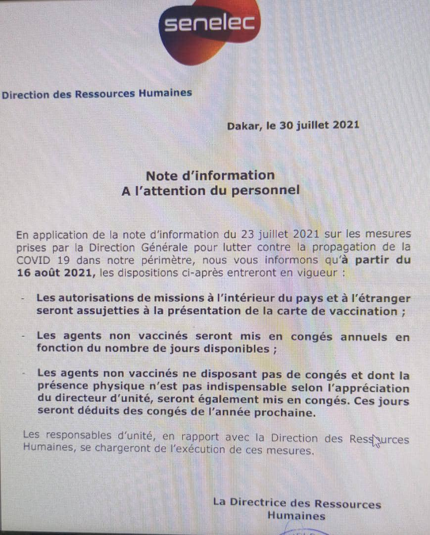 La Senelec impose un Pass Sanitaire à ses employés