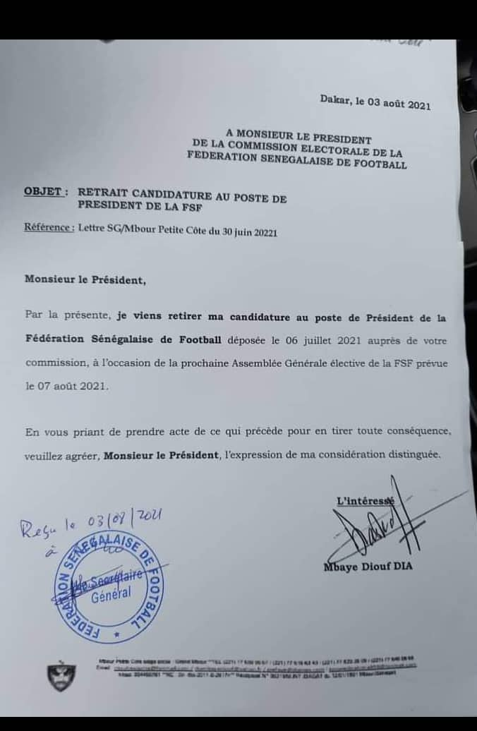 Élections FSF: Mbaye Diouf Dia retire sa candidature