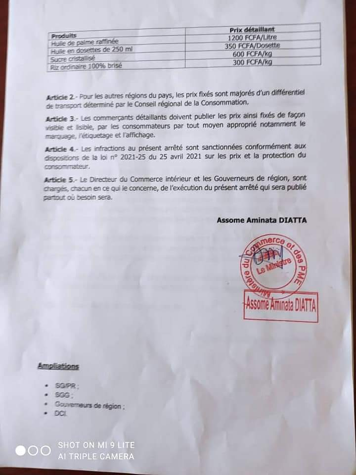 Le ministre du Commerce fixe les prix de l'huile, du sucre du gaz...(document)