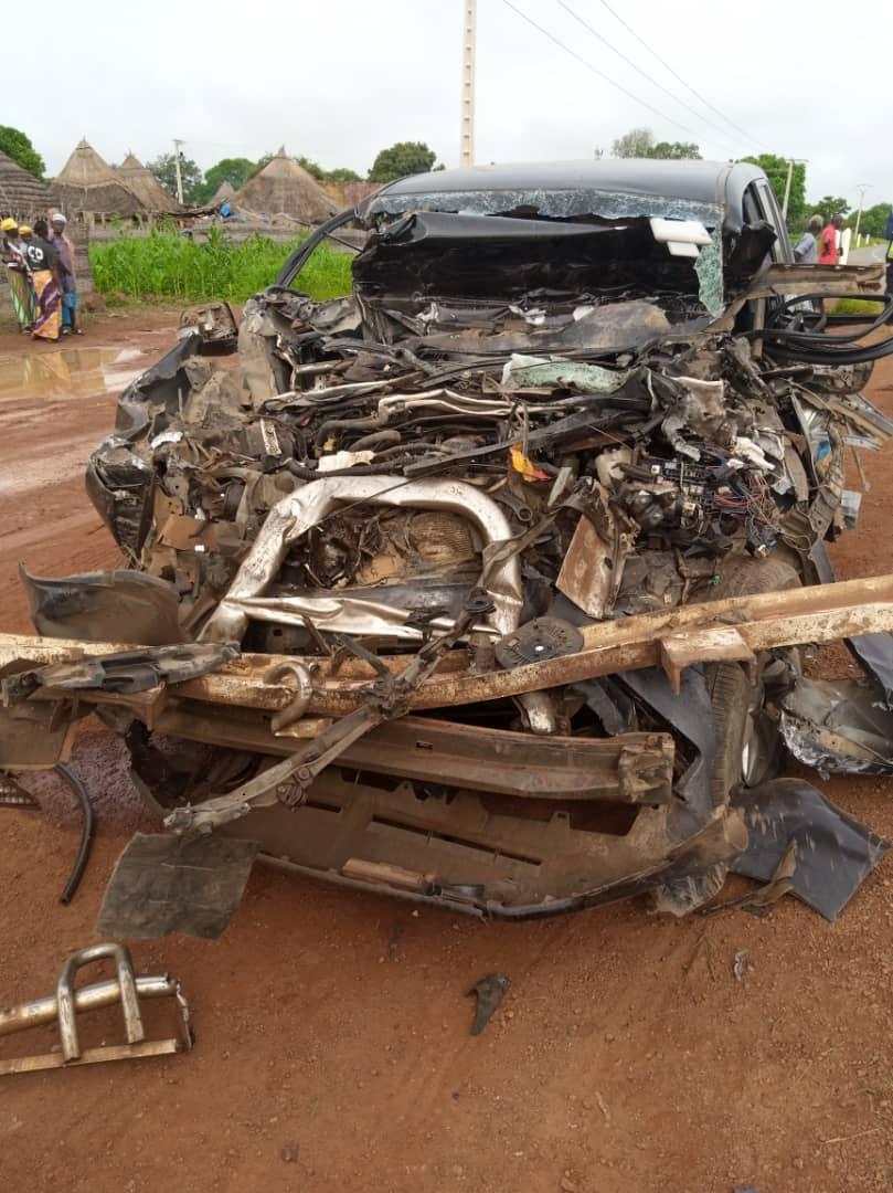 Images du véhicule de Moustapha Guirassy après le choc avec le camion malien