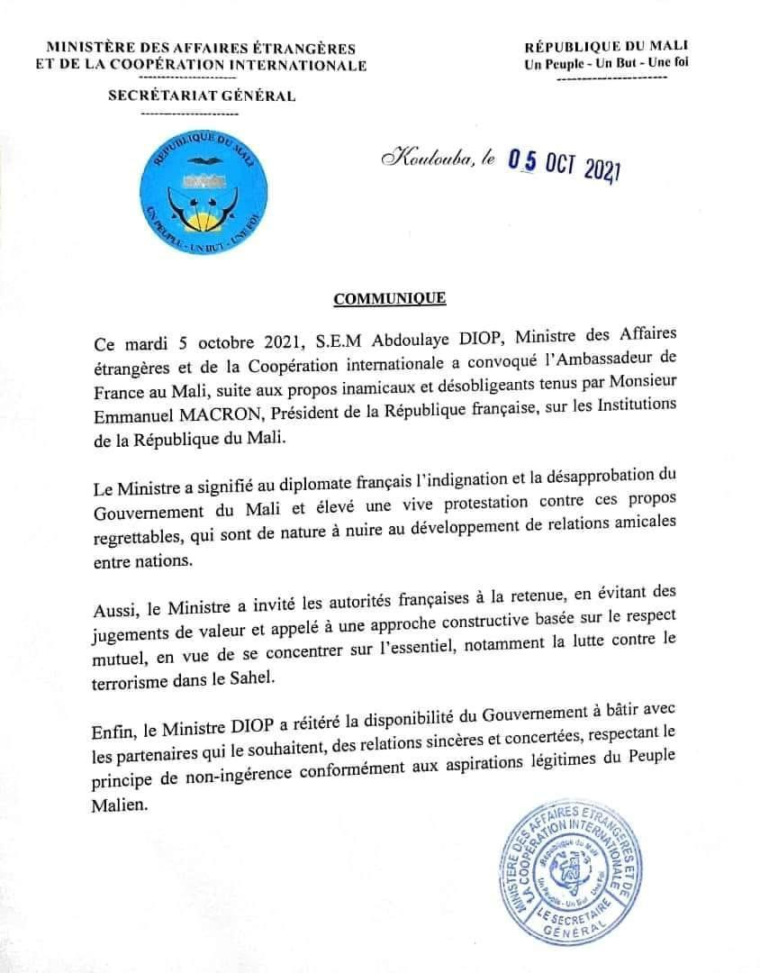 Propos de Macron: l'Ambassadeur de France convoqué par le ministre malien des Affaires étrangères