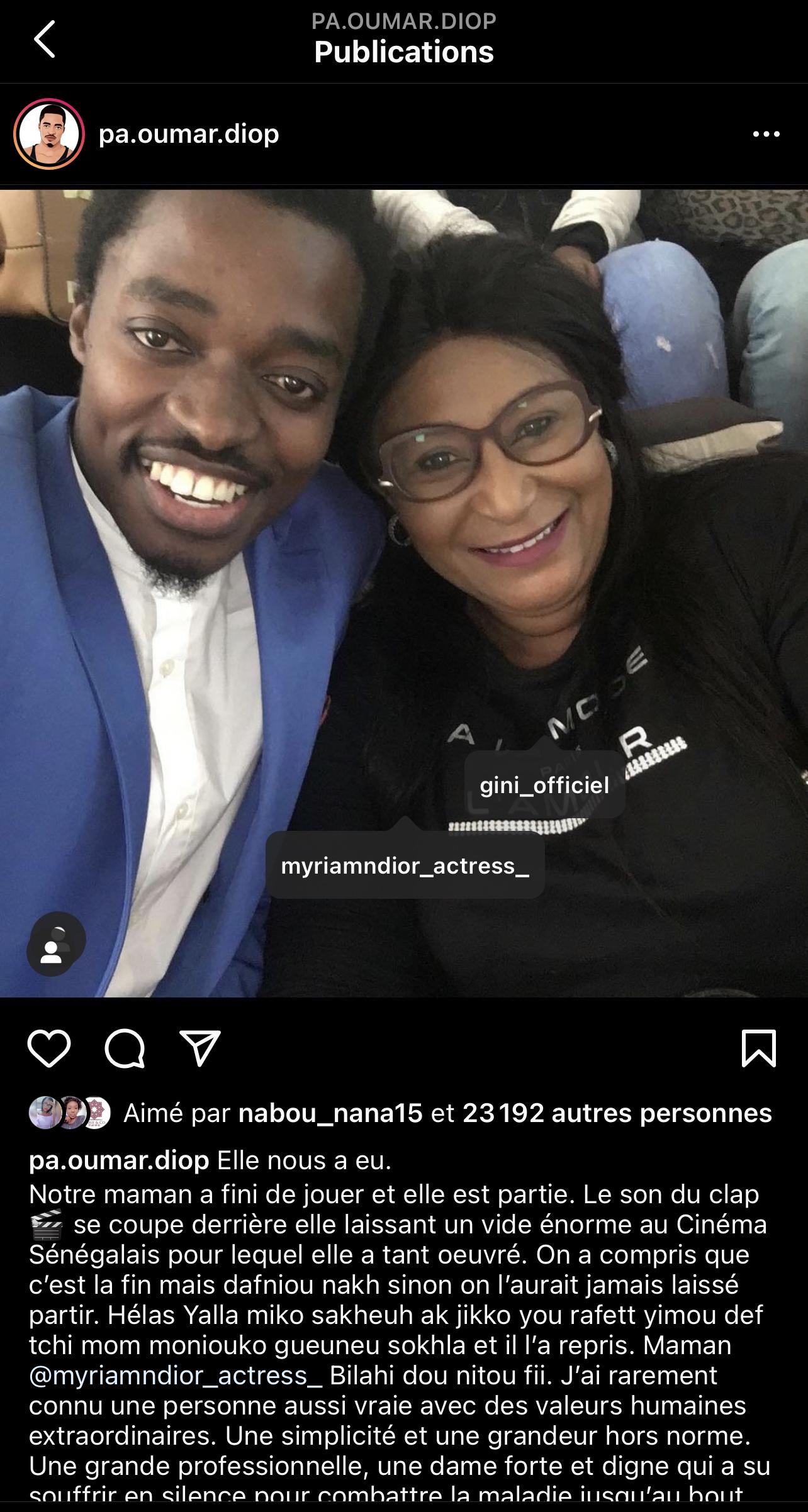 Décès de l'actrice Myriam Ndior: la toile pleure son artiste