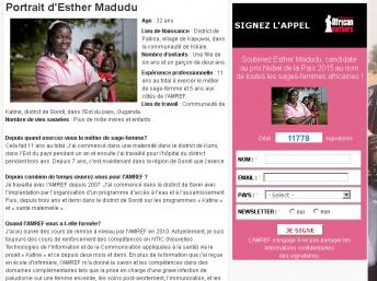 Capture d'écran du portrait d'Esther Madudu sur le site de l'association AMREF. AMREF