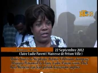 Calire Lydie Parent, ancienne maire de Pétionville, le 22 septembre 2012. capture d'écran Youtube