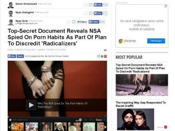 Les internautes islamistes radicaux surfent sur des sites pornographiques, la NSA s'en sert pour les discréditer. Capture d'écran du Huff Post