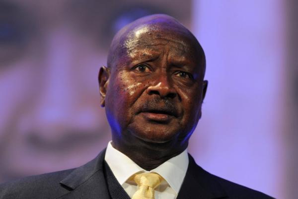 Le président ougandais Yoweri Museweni s'est adressé à ses compatriotes dans un message radiophonique, le 30 juillet 2012. AFP/ Carl Court