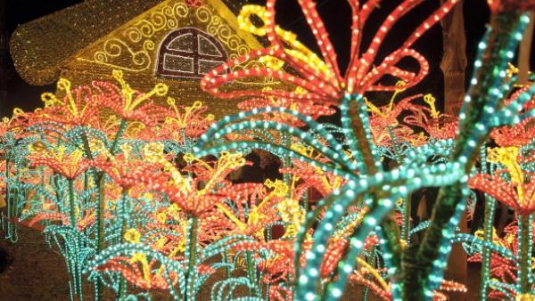 Vue des installations lumineuses de Noël, le long de la rivière Medellin. (Photo by Marco Aurelio/LatinContent/Getty Images)