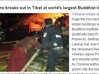 Chine: grave incendie dans un centre de bouddhisme tibétain dans le Sichuan