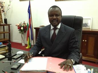 Alexandre Ferdinand Nguendet, président du CNT, assure l'intérim en attendant l'élection d'un nouveau président de la transition en Centrafrique. Laurent Correau / RFI