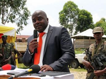 Le président du M23, Bertrand Bisimwa, à Bunagana, le 7 mars 2013. Photo AFP / Isaac Kasamani
