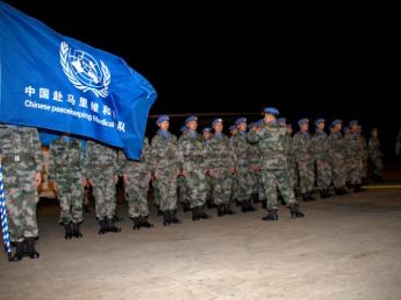 Une photo de la Minusma, prise lors de l'arrivée d'une partie du contingent chinois à Bamako, le 4 décembre 2013. Photos: MINUSMA/Fred Fath