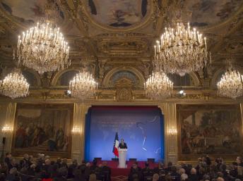 François Hollande, lors des voeux au corps diplomatique, le 17 janvier 2014. REUTERS/Michel Euler/Pool