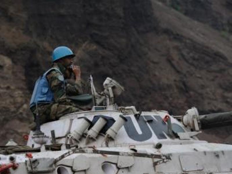 Un soldat de la Monusco, à Munigi, près de Goma en RDC en juillet 2013. AFP/PHIL MOORE