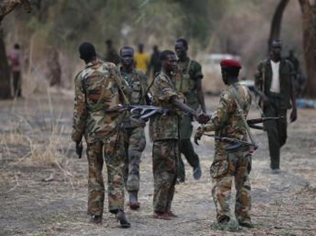 Combattants rebelles sud-soudanais dans l'Etat de Jonglei, le 1er février 2014. REUTERS/Goran Tomasevic