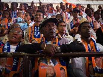 Lors de la cérémonie de commémoration de la tuerie du 7 février 2009, ce vendredi à Antananarivo. AFP PHOTO / BILAL TARABEY