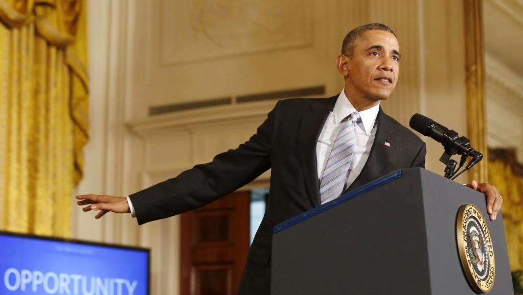 Barack Obama s'exprime sur son choix d'augmenter le salaire minimum des travailleurs sous contrat fédéral à la Maison Blanche à Washington, le 12 Février 2014
