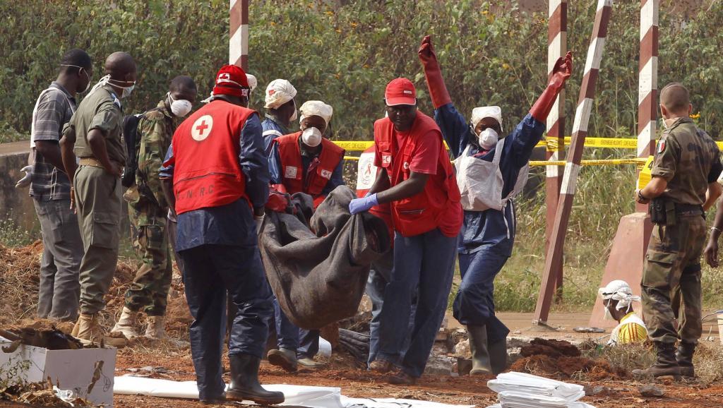Des employés de la Croix-Rouge transportent les cadavres sortis de la fosse commune. Bangui, le 17 février 2014.