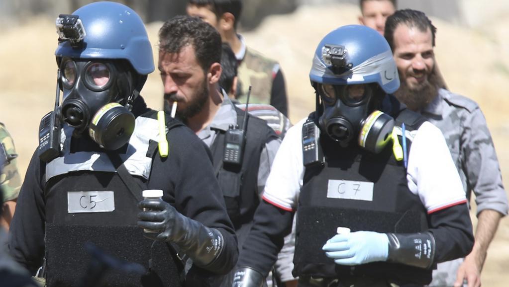 Des experts des Nations unies chargés de l'enquête sur l'utilisation d'armes chimiques en Syrie, le 28 août dernier près de Damas.