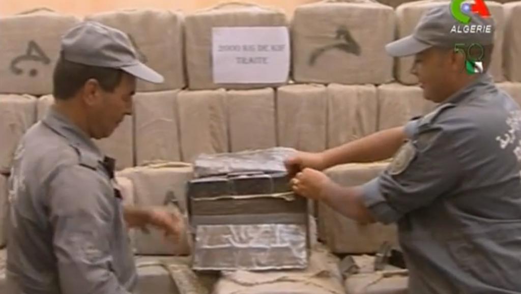 Saisie de drogue à Nâama, en Algérie, en juillet 2012. Capture d'écran / You Tube