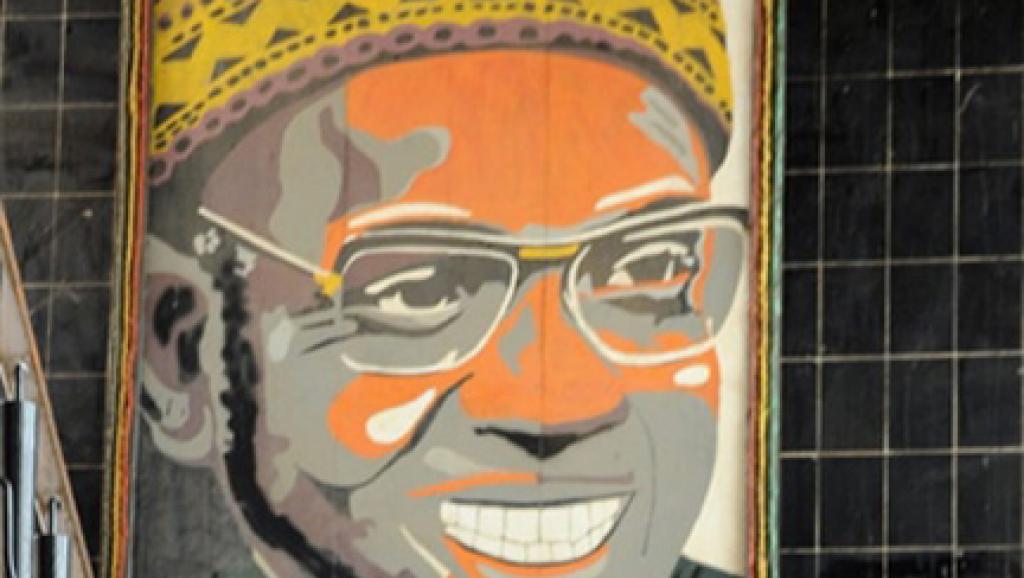 Le portrait d'Amicar Cabral, fondateur du parti africain pour l'indépendance de la Guinée et du Cap-Vert (PAIGC).