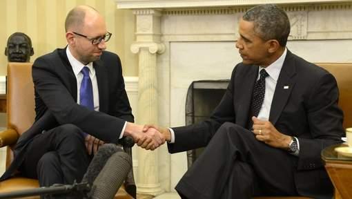 Le Premier ministre ukrainien Arseni Iatseniouk et Barack Obama