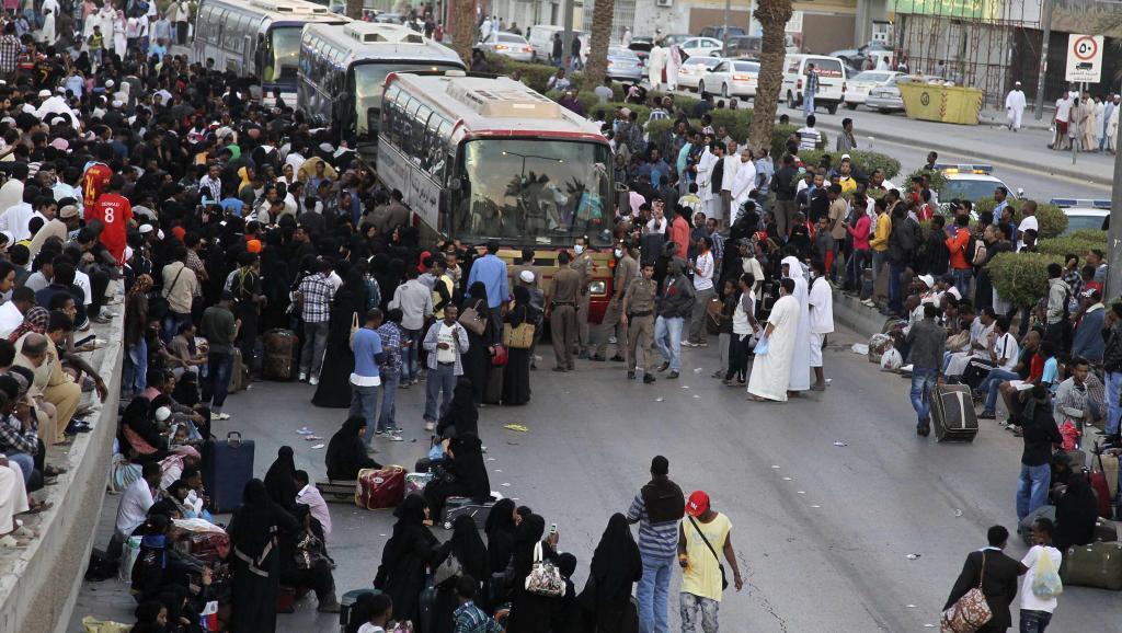 Des migrants illégaux se préparent à quitter l'Arabie saoudite. REUTERS/Faisal Al Nasser