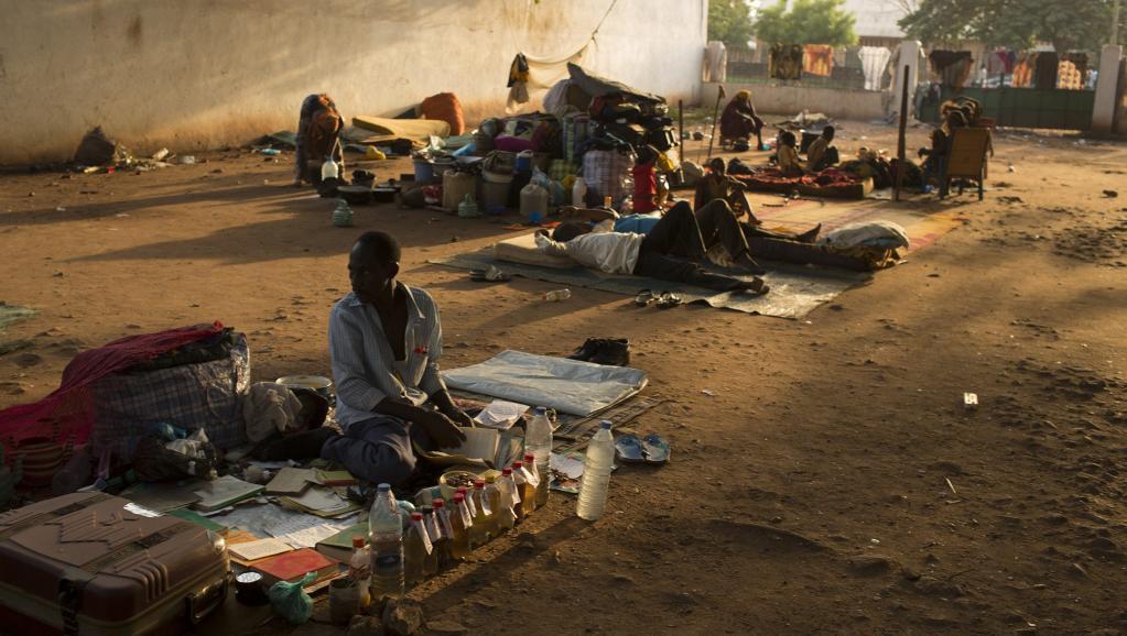 Dans l'enceinbte de la mosquée du PK5, à Bangui, ce samedi 15 mars, où des musulmans centrafricains ont trouvé refuge.