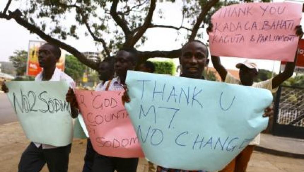 Manifestation suite à la loi controversée promulguée par le président ougandais Yoweri Museveni durcissant la répression de l'homosexualité. Kampala 24 février 2014.