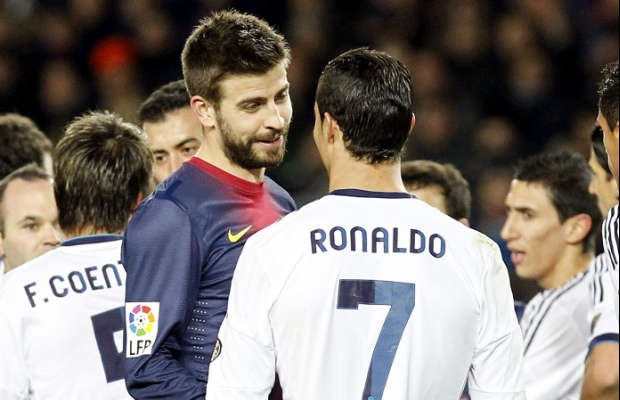 Cristiano Ronaldo (Real Madrid) et Gerald Pique (FC Barcelone)