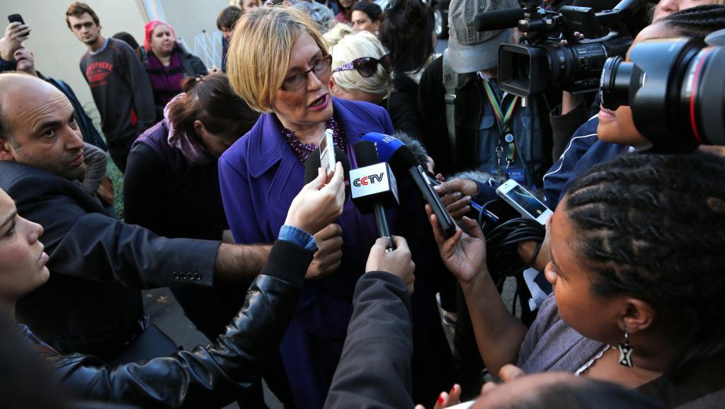 Helen Zille s'adresse aux médias à Rondebosch (Cape Town), le jour du vote, le 7 mai 2014.REUTERS/Sumaya Hisham