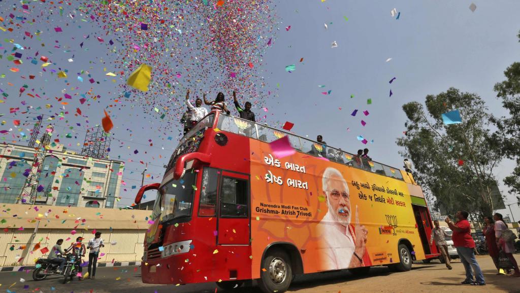Supporters du BJP de Narendra Modi pendant la campagne électorale. REUTERS/Amit Dave