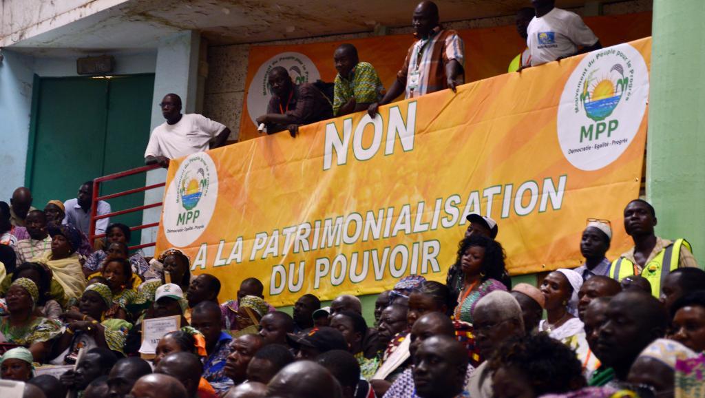 Ouagadougou, Burkina Faso, le 5 avril 2014. Meeting du nouveau parti d'opposition, le Mouvement du peuple pour le progrès. AFP PHOTO / AHMED OUOBA