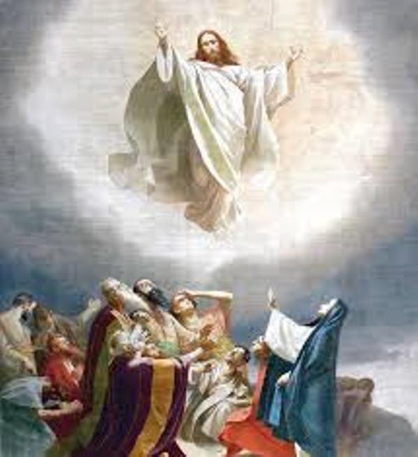 C'est l'Ascension: l'élévation de Jésus au Ciel après sa résurrection