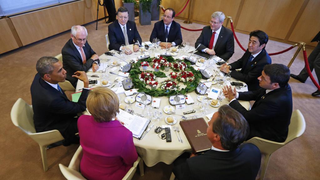 Le dîner du G7 a réuni sept chefs d'Etat au lieu de huit, pour la première fois depuis 1998. REUTERS/Yves Herman