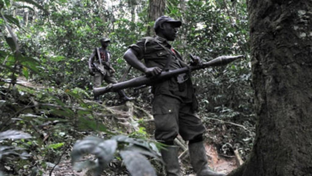 Des rebelles rwandais hutus des FDLR, à 150 km au nord-ouest de Goma, en 2009. AFP/ Lionel Healing