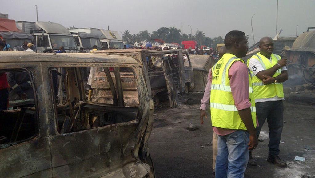 Les lieux de l'explosion du 8 janvier 2014 : le dépôt de carburant d'Apapa. AFP PHOTO/NEMA