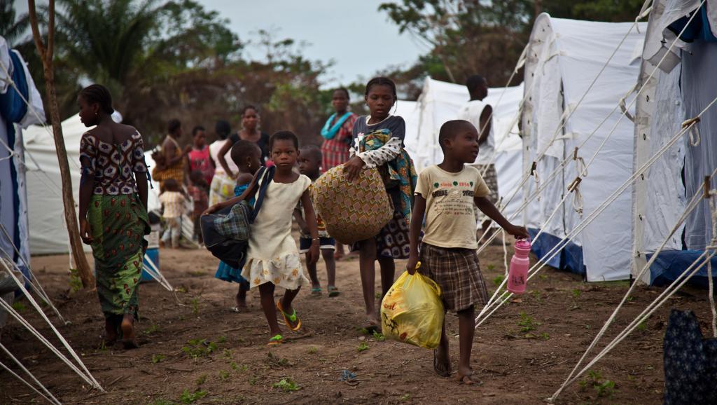 Des réfugiés ivoiriens ayant fui les violences post-électorales de 2010-2011 dans leur pays, dans un camp du comté de Nimba, au Liberia. AFP PHOTO/IFRC/Benoit Matsha-Carpentier
