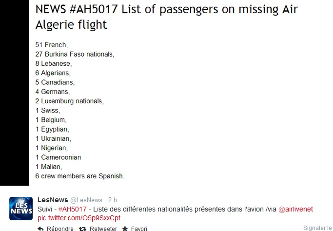 Crash du vol AH 5017 d'Air Algérie : Il y avait quatorze nationalités à bord