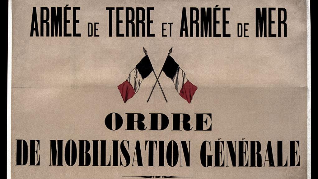 En France, l'ordre de mobilisation générale est donné le 2 août 1914. Wikimedia Commons